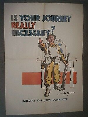Ww2 Information Poster-Is Your Journey Necessary? Railways Executive Commit(P20)