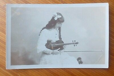 Vintage* Girl with a violin and bow. Worthing Portrait Co. 4 Railway Approach.