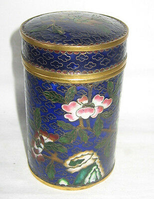 Antique Chinese Cloisonne Floral CONTAINER WITH LID