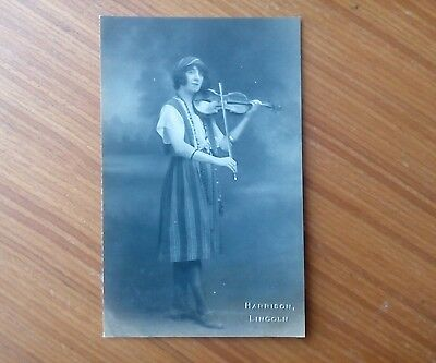Vintage* Gypsy Lady with Violin and Bow. Harrison, Lincoln. Real Photo.