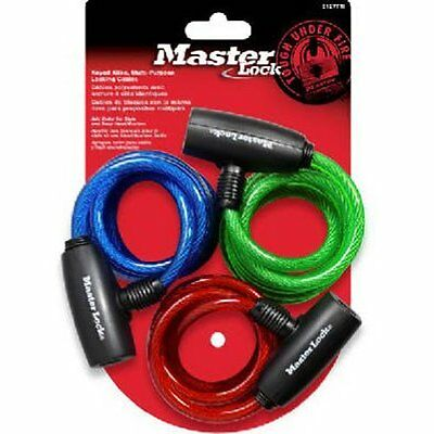 Master Lock 8127TRI Bike Lock/Cable, Blue, Green and Red