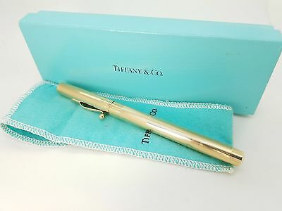 Tiffany & Co. 14k Yellow Gold William S. Hicks Diplomat Fountain Pen Pouch & Box