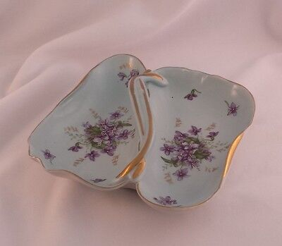 VINTAGE PURPLE VIOLETS SERVING DISH Divided Candy HANDLE Nappy MADE IN JAPAN