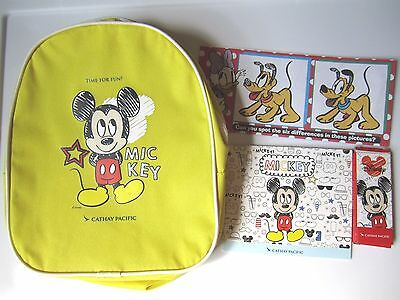 NEW Cathay Pacific Airlines Inflight Kids Disney Mickey Mouse Backpack Activity