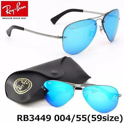 NEW AUTHENTIC RAY-BAN RB3449 004/55 59mm GUNMETAL/BLUE MIRROR SUNGLASSES