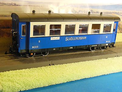 LGB 3264 Schollenbahn Coach BC 23 blue and white livery with interior lighting.