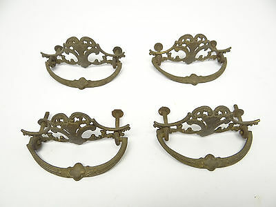 Matching Antique Set Four Old Brass Metal Dresser Hardware Pulls Handles Parts