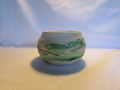 Vintage Nemadji Pottery Vase Green And Cream Clay Pot Or Vase Nice Item