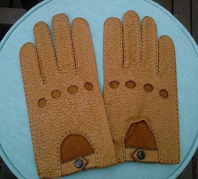 Vintage Tan Leather Driving Gloves Unworn Size 9 Dapper Gent