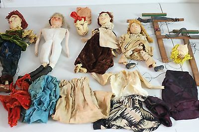 Antique French Puppets  Marionettes vintage dolls