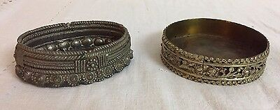 2 India Hand Crafted Mixed Metal Tribal Anklet Bowl
