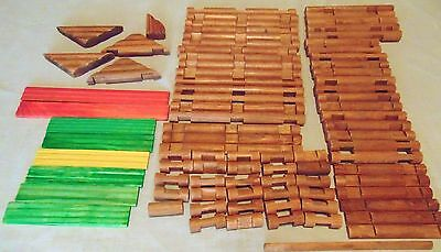 """Lot of 86 LINCOLN LOGS - Smaller - 5/8"""" Diameter - Building Toys Wood"""