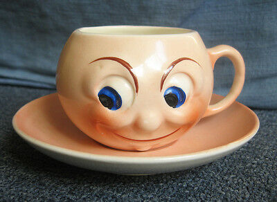Vintage Czechoslovakia novelty funny face cup & saucer 5 inches diameter