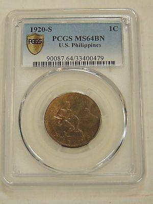 US Philippines 1920-S One Centavo PCGS MS64BN
