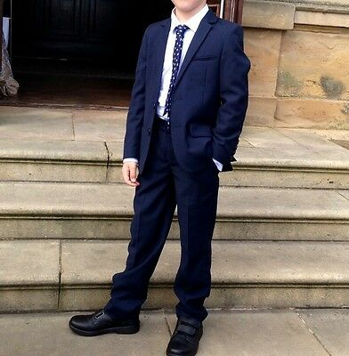 Boys Navy Blue M&S Suit And Shirt