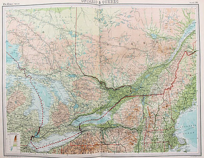 1922 Large Vintage Times Map - Central Canada, Ontario, Quebec, Great Lakes