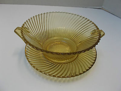 Vintage Federal Glass cream soup bowl and Saucer, Diana Pattern, Amber