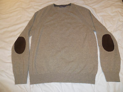 Vince Mens Crew Neck Cashmere & Soft Leather Elbow Pads Jumper.XL