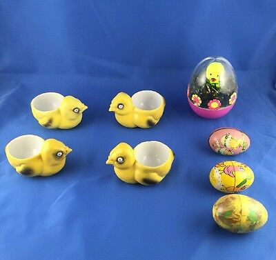 NICE Vintage Easter Lot Japan Ceramic Chicks Egg Cup Holder Tin Bunny Plastic