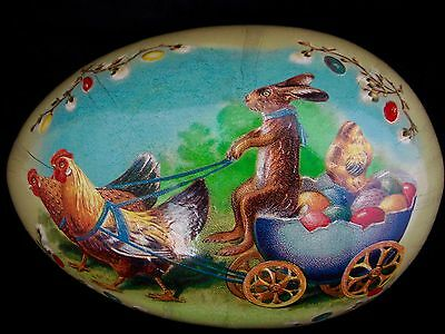 VINTAGE GERMAN PAPER MACHE EASTER EGG CANDY CONTAINER, Easter Bunny ~ ERZGEBIRGE