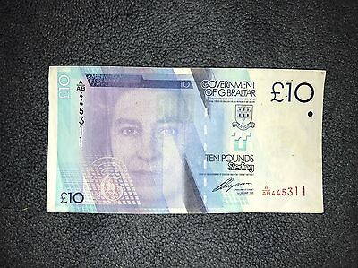 10 Pounds , GIBRALTAR Banknote 2010, World Money, Foreign Currency