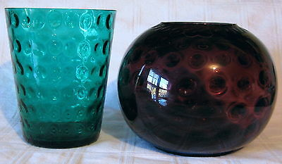 Vintage FENTON COINSPOT or COIN DOT VASES: TEAL GREEN & PURPLE BALL SHAPE