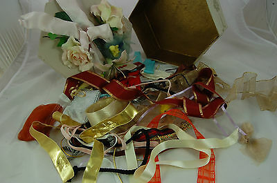 Vintage Decorated Box with Ribbon Trimmings Inside