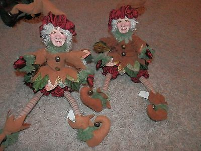 "2 KATHERINES COLLECTIONS fall ELF SHELF SITTER DECOR 14'"" BENDABLE LEGS"