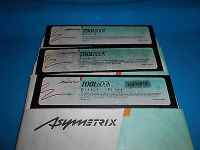 "Asymetrix Toolbox 1.0 3 Disks Diskettes 5 1/4"" 1989 Microsoft Windows Rare"