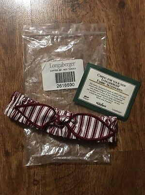 Collectible Longaberger Small Basket Garter Red Sweetheart Ticking Valentines
