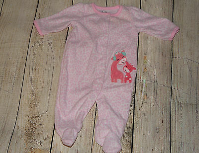Carter's Baby Girl 0-3 Months Sleeper Footed Pajama, Pink Giraffe, Pre-owned
