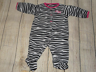 Carter's Baby Girl 9 Months Sleeper Footed Pajama, Zebra Animal Print, Pre-owned