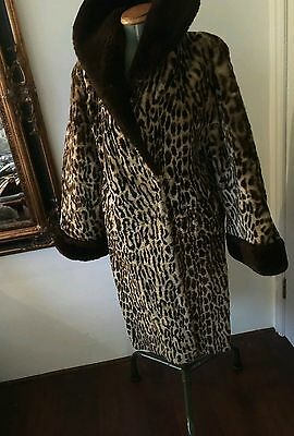 Sale! Vintage 1950's 1960's Beaver Lamb Fur Leopard Swing Coat Sheepskin
