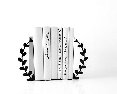 Atelier Article - Gift Steel bookends - Wreath (Black)