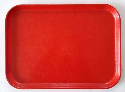 "Lot 10 RED Cambro Cafeteria Food Serving Trays ""Cam-Steel"" ~12""x16"" -Heavy Duty"