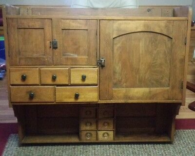 1800s Primitive Country Farmhouse Cupboard Bakers spice Cabinet for over stove.