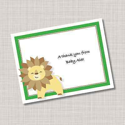 12 Custom Personalized Baby Lion Note Cards & Envelopes