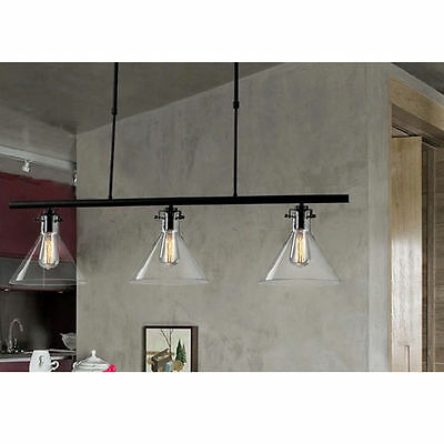 3 Heads Pipe Vintage Industrial Edison Down Ceiling Pendant Light Lamp Kitchen