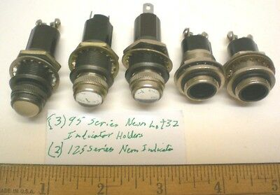 5 Neon Indicator Holders, Assorted w/built-in Resistors, Series 95, Lot 32, USA
