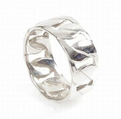 Mens Hallmarked Sterling Silver Curb Chain Link Band Ring Size S.5 NEW