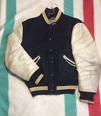 Vintage 50's Whiting Blank LetterMan Jacket Leather Wool Black Cream & Gold 44