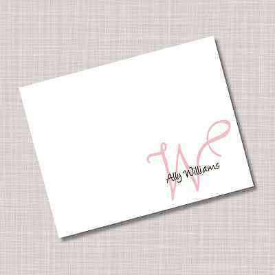 12 Custom Personalized Angelina Pink & Brown Note Cards & Envelopes