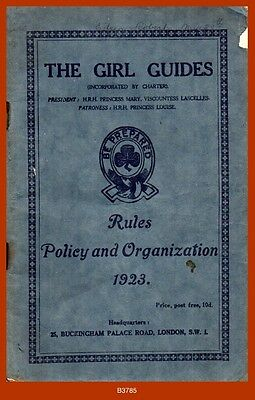 """Girl Guides """"RULES, POLICY & ORGANIZATION 1923"""" Insignia, Award Badges Etc."""