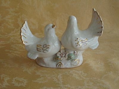 Vintage Two White Bird with Gold Decorated Birds on Stand Figurine Pink Flower