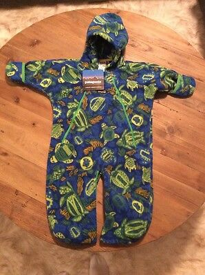 PATAGONIA Infant Synch Bunting 12 Month Blue Fleece Turtle Print Boy Girl NEW