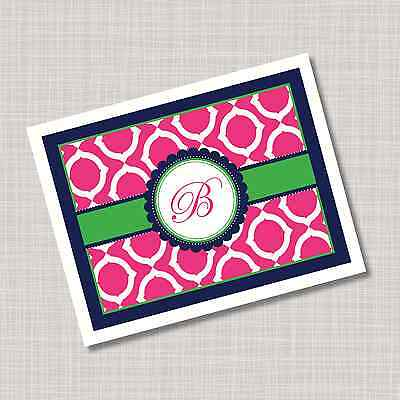 12 Custom Personalized Geo Pink Navy Blue Green Monogram Note Cards & Envelopes