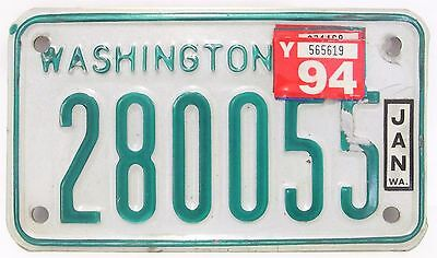 "Used Vintage WASHINGTON Motorcycle LICENSE PLATE '1985 ""new font"" 280055 w flaws"
