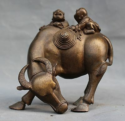 old chinese Folk Fengshui bronze Boy Ride Bull Zodiac Animal Oxen lucky statue