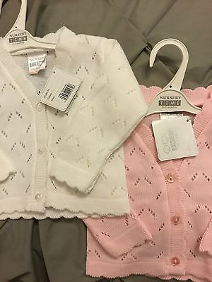 Baby Cardigan White or Pink Newborn 0-3 3-6 Mths Babies Matinee Delicate