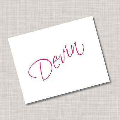 12 Custom Personalized Pink Scriptina Name Note Cards